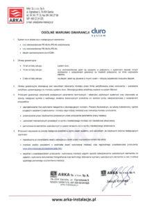 thumbnail of Duro system – ogólne warunki gwarancji
