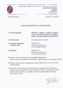thumbnail of JIMTEN – ATEST HIGIENICZNY 2017 odpływy