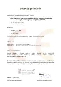 thumbnail of CIRCULA deklaracja zgodności WE – pompy elektroniczne cyrkulacyjne do wody pitnej CIRCULA TORIO