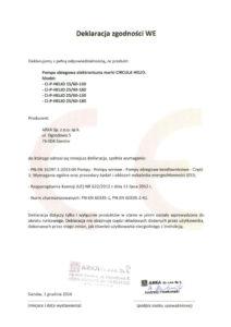 thumbnail of CIRCULA deklaracja zgodności WE – pompy obiegowe elektroniczne CIRCULA HELIO
