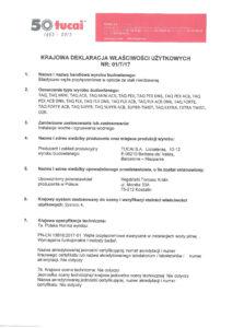 thumbnail of TUCAI – deklaracja właściwości użytkowych węże przyłączeniowe