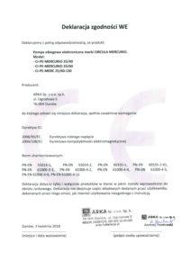thumbnail of CIRCULA deklaracja zgodności WE – pompy obiegowe elektroniczne CIRCULA MERCURIO