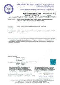 thumbnail of Atest higieniczny – zawory kulowe CALIDO ERYK do kotłów