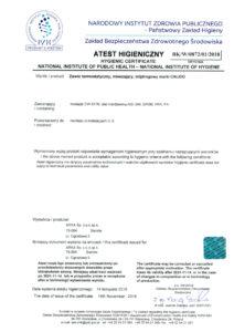 thumbnail of Atest higieniczny – zawór termostatyczny, mieszający, trójdrogowy CALIDO