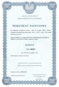 thumbnail of Patent nr 230959 – zawory do kotłów ERYK