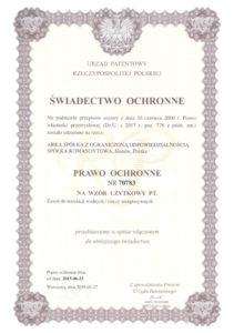 thumbnail of Świadectwo ochronne nr 70783 – zawory ESKIMOS