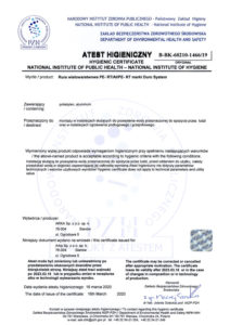 thumbnail of Atest higieniczny – rura wielowarstwowa DURO SYSTEM PERT-AL-PERT